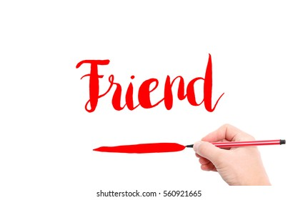 The word of Friend written by hand on a white background