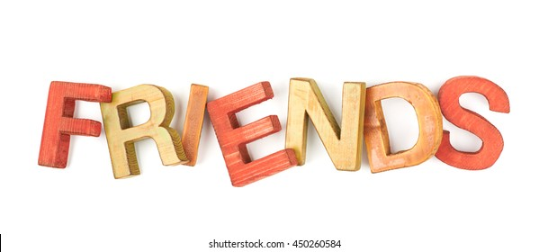 Word Friends made of colored with paint wooden letters, composition isolated over the white background