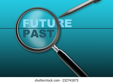 word future - past and magnifying glass with pencil made in 2d software on gradient  background