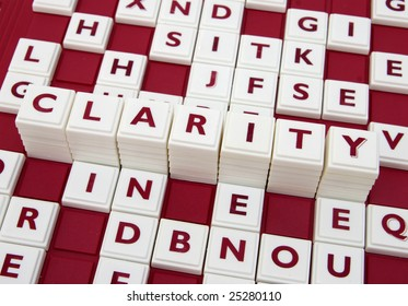 """A word game spelling out the word """"clarity"""" among many letters"""