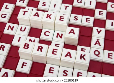 """A word game spelling out the words """"take a break"""" among many letters."""