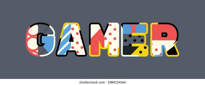 The word GAMER concept written in colorful abstract typography.