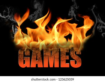 The word Games in flame text for many conceptual ideas around gaming, and gamers