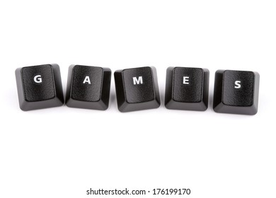 Word games formed with computer keyboard keys on white background with shadow