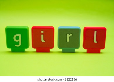 The word 'girl' spelt in letters isolated on green