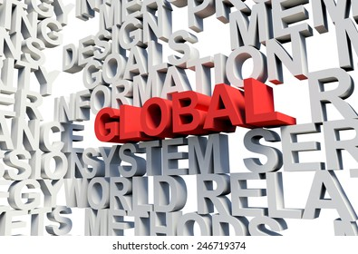 Word Global in red, salient among other related keywords concept in white. 3d render illustration.