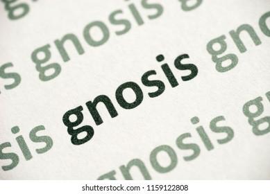 word gnosis printed on white paper macro