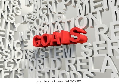 Word Goals in red, salient among other related keywords concept in white. 3d render illustration.