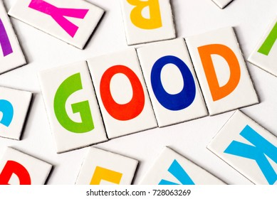 word good made of colorful letters on white background