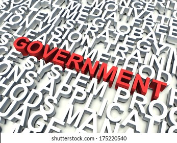Word Government in red, salient among other related keywords concept in white. 3d render illustration.