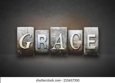 The word GRACE written in vintage letterpress type