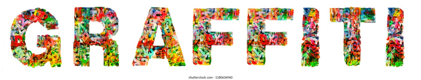 The word GRAFFITI  made up from painted wooden letters  isolated