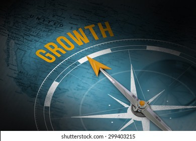 The word growth and compass against map