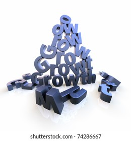 The word Growth as letter pyramid with dropped letters on the floor. Rendered over white with extreme wide-angled lens. Color can be changed easily to your needs.