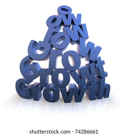 The word Growth as letter pyramid rendered over white with extreme wide-angled lens. Color can be changed easily to your needs.