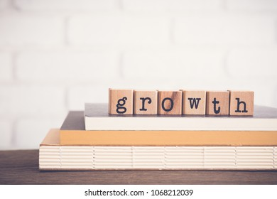The word Growth, text on wooden cubes on top of books. Background copy space, vintage minimal style. Ideas for increase quantity over time. Saving, financial fund, business management concepts.