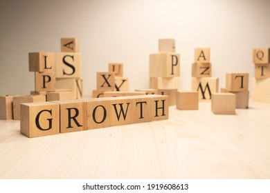 The word growth is from wooden cubes. Economy state government terms. Background made of wooden letters.
