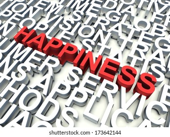 Word Happiness in red, salient among other keywords concept in white. 3d render illustration.