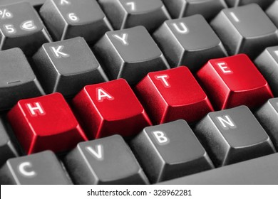 Word hate written with red keyboard buttons