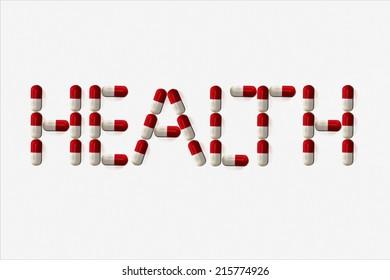 Word health - alphabet of medicine pills