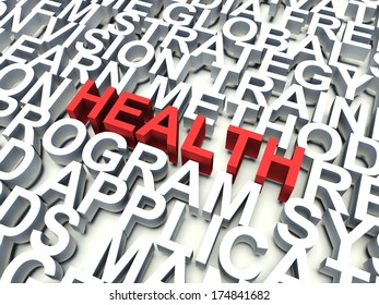 Word Health in red, salient among other keywords concept in white. 3d render illustration.