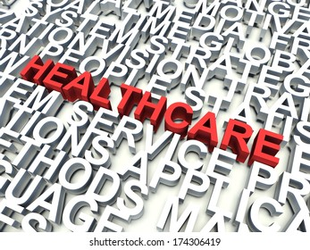 Word Healthcare in red, salient among other related keywords concept in white. 3d render illustration.