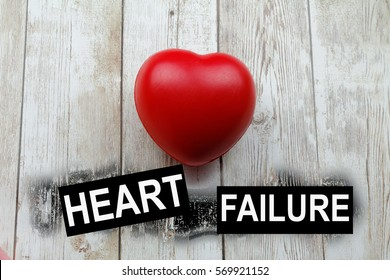 Word HEART FAILURE and heart-shape symbol. Conceptual.