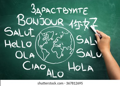 Word hello in all languages of the world on blackboard