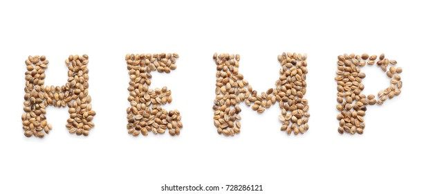 Word HEMP made of seeds on white background