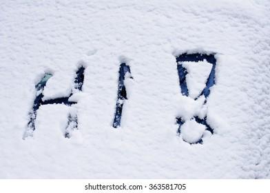 the word HI written into fresh snow