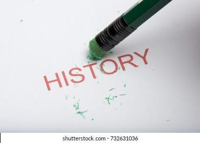 The word 'history' on paper with worn pencil eraser and eraser shavings. Concept of forgetting or changing history or past, web browsing history.