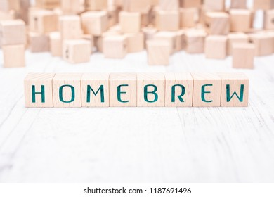 The Word Homebrew Formed By Wooden Blocks On A White Table