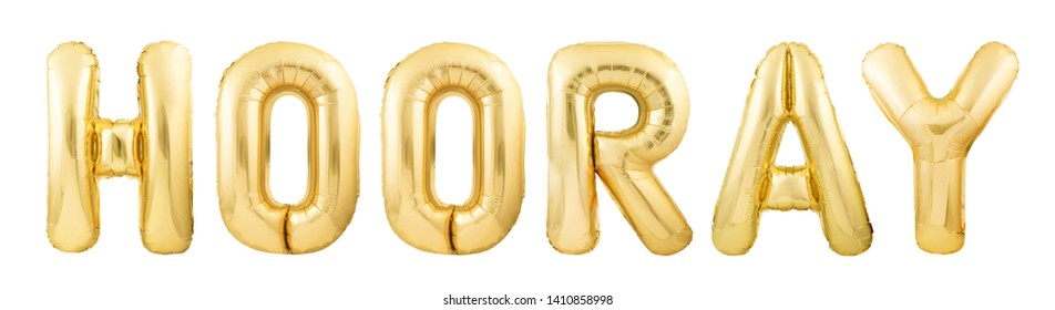 Word hooray! made of golden inflatable balloon letters isolated on white background. Helium balloons forming word hooray