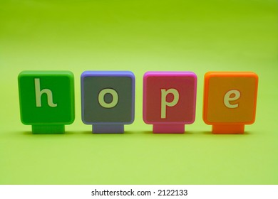 The word 'hope' spelt in letters isolated on green