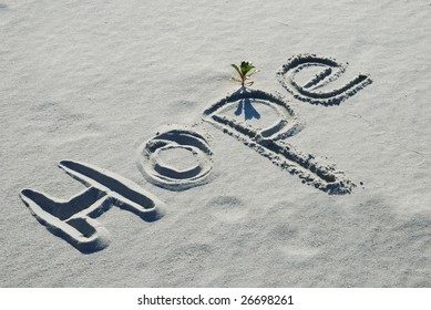The word hope written in the sand on a beach