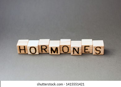 the word hormones wooden cubes with burnt letters, the value of hormones in the human body, gray background top view, scattered cubes around random letters