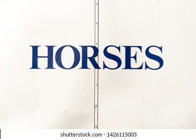 The word horses on the back of a horsebox UK