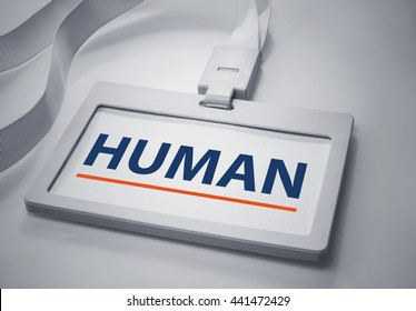 Word Human on Identification card background.For business concept.