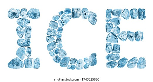 Word ICE made of blue crushed ice cubes on white background isolated close up, cold icy letters, iceberg pieces, frozen crystals, shiny freeze icecubes, cool fresh concept, winter frost texture text