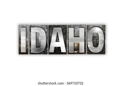 """The word """"Idaho"""" written in vintage metal letterpress type isolated on a white background."""