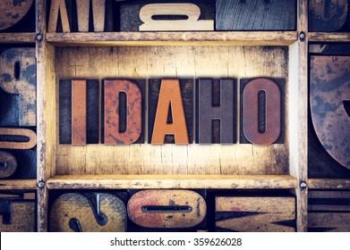 """The word """"Idaho"""" written in vintage wooden letterpress type."""