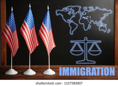 Word IMMIGRATION with American flags and blackboard on background