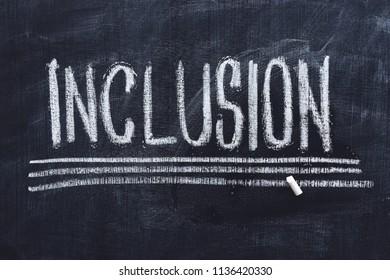 Word Inclusion on school blackboard written with chalk