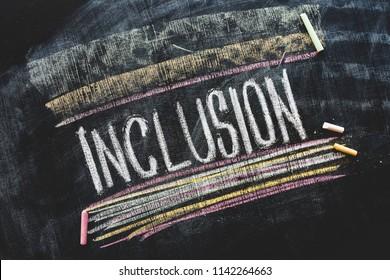 Word Inclusion on school blackboard written with chalk,inclusive education