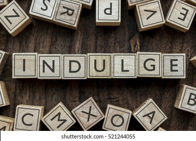 the word of INDULGE on building blocks concept