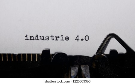 the word industry 4.0 on old typewriter