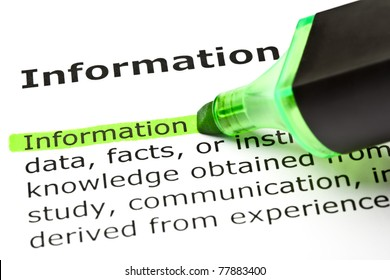 The word Information highlighted in green with felt tip pen.