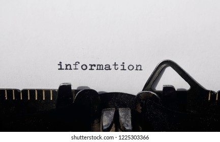 the word information,  on old typewriter