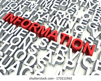 Word Information in red, salient among other related keywords concept in white. 3d render illustration.