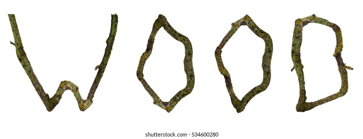 Word inlaid wood branches with moss. Isolated on white background.